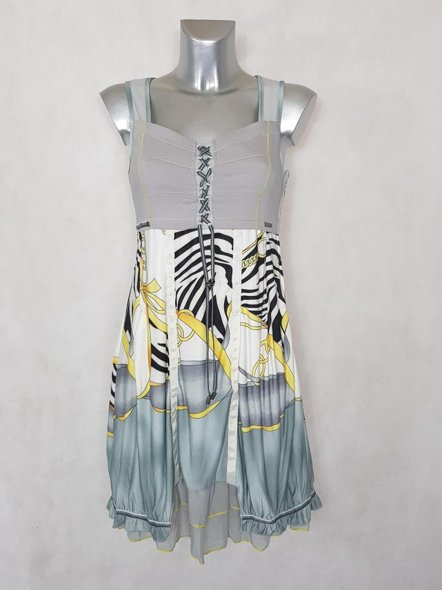 robe-femme-courte-evasee-grise-motif-abstrait