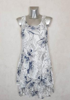 Robe femme évasée blanche en coton floral manches à bretelles