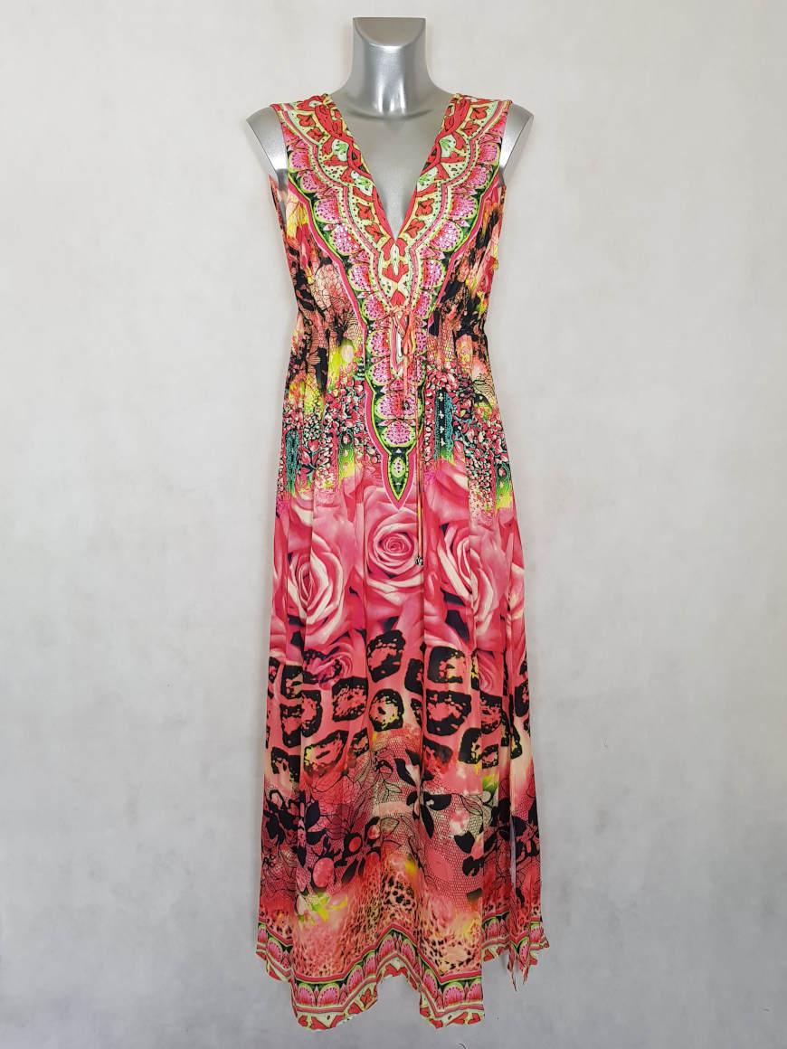 robe-femme-longue-voile-orange-a-motif-et-strass