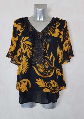 Tunique femme ronde en voile floral noir et jaune manches ¾