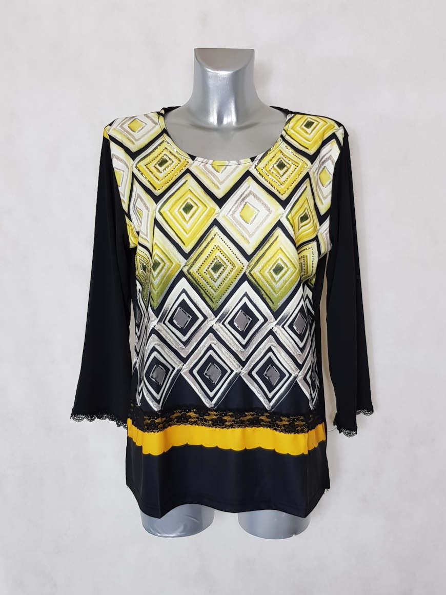 tunique-femme-ronde-motif-azteque-jaune-manches-longues