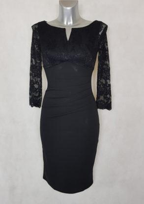 Robe femme courte noir drapée à dentelle manches courtes ¾