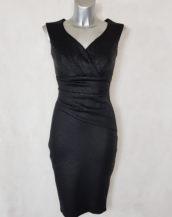 Robe femme courte drapée noir motif serpent col effet cache cœur sans manches