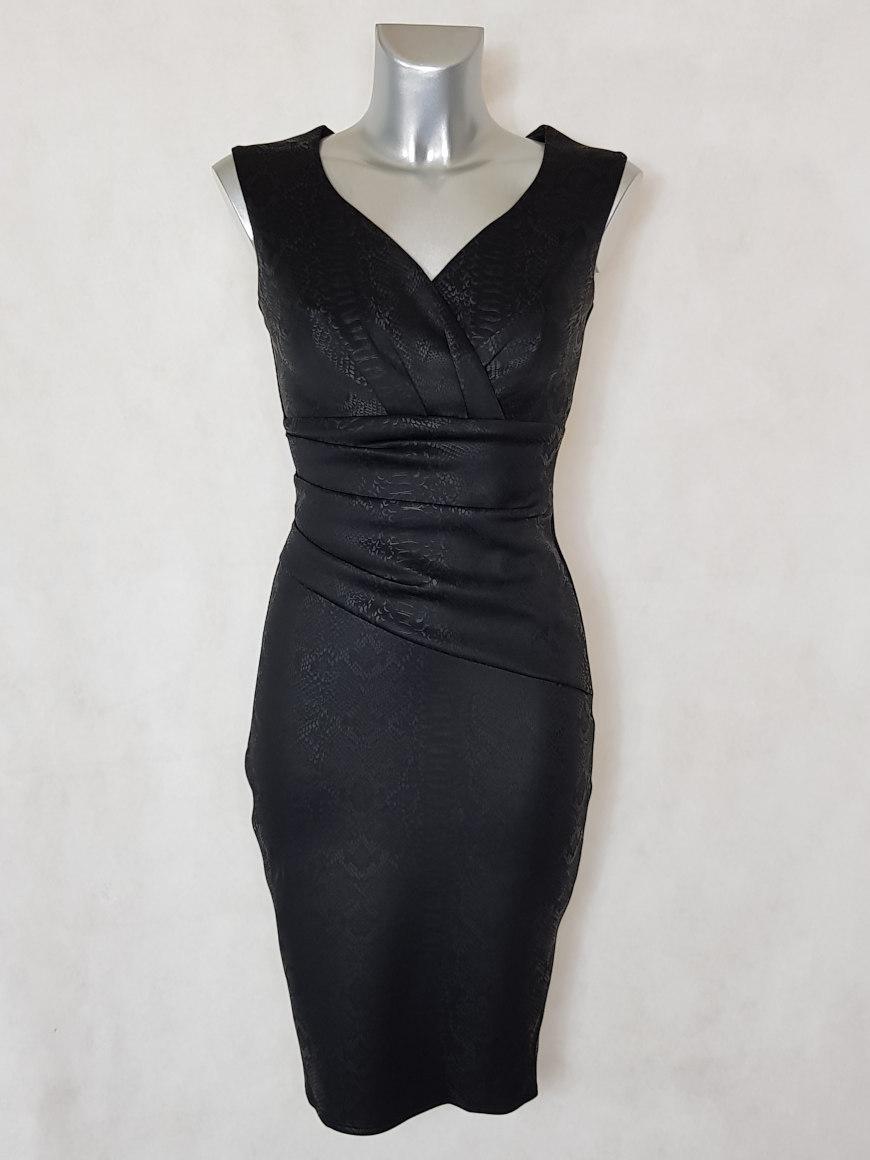 robe-femme-courte-drapee-noir-motif-serpent-col-cache-coeur