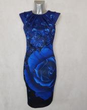 Robe femme fourreau bleu roi fleurie et col plissé avec petites manches