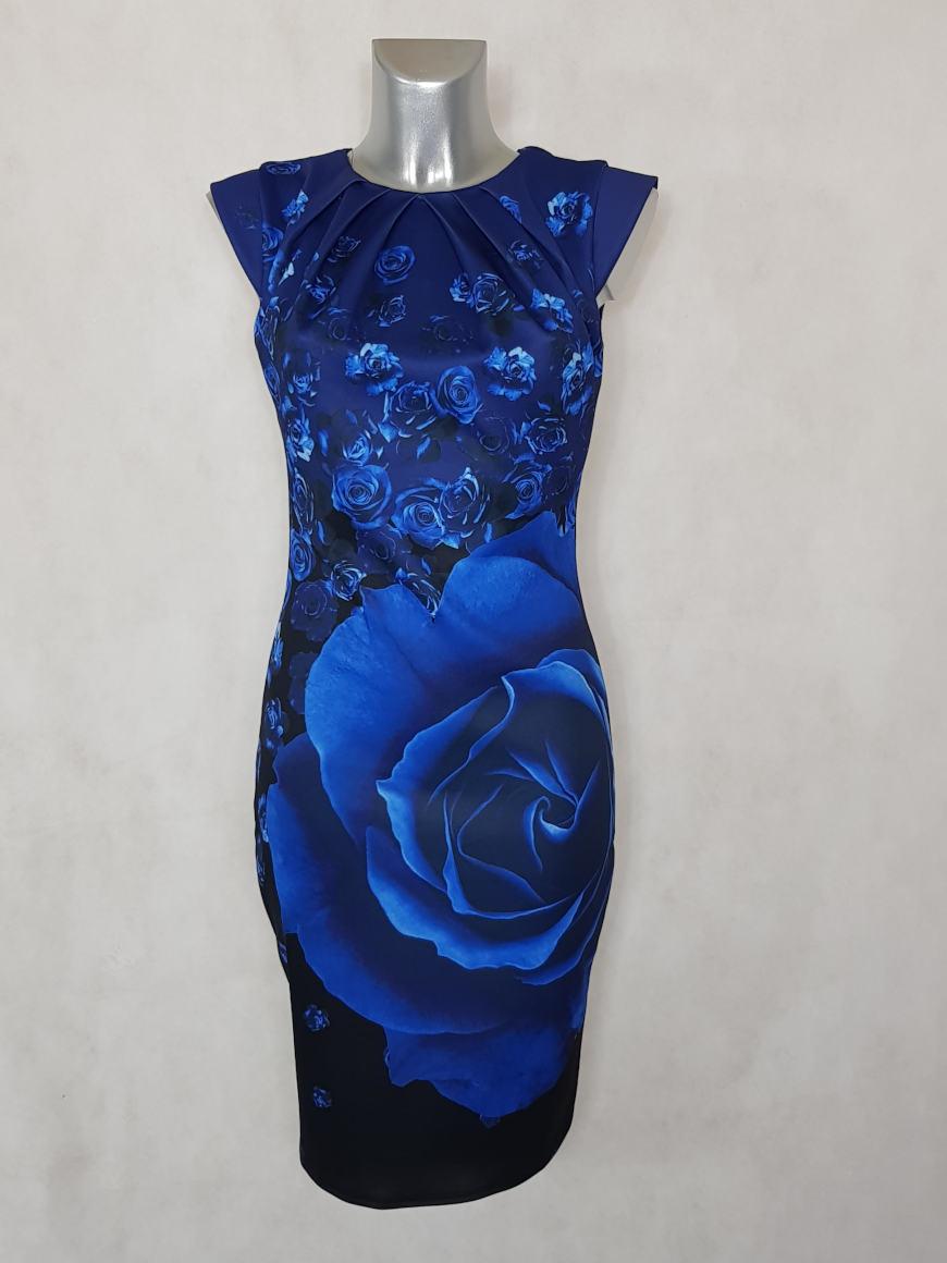 robe-femme-fourreau-bleu-roi-fleurie-et-col-plisse1
