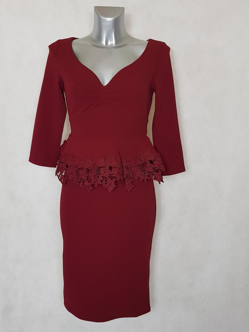 robe-femme-fourreau-courte-a-basques-bordeaux-manches-¾1