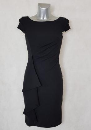 Robe femme fourreau drapée à volants noir manches courtes avec volants et drapée