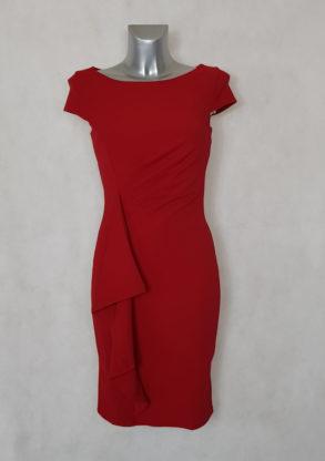 Robe femme fourreau drapée à volants rouge manches courtes avec volants et drapée