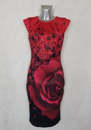 Robe femme fourreau rouge fleurie et col plissé avec petites manches