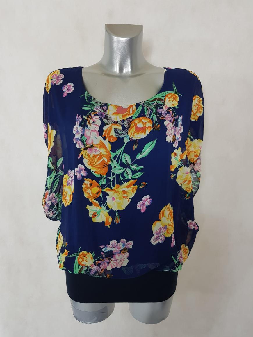tunique-femme-2-en-1-blousante-voile-floral-bleu-manches-courtes