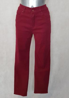 Pantalon femme droit taille haute bordeaux gainant