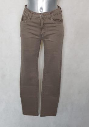 Pantalon femme droit taille haute gainant beige