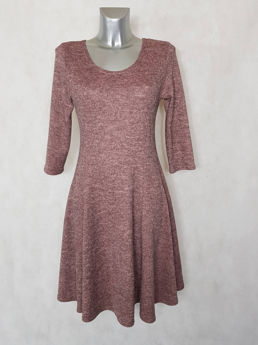 robe-femme-evasee-en-maille-vieux-rose-chine