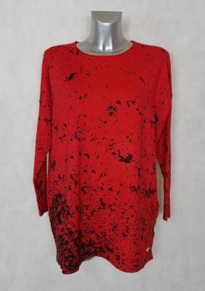 Pull droit femme ronde maille rouge motif abstrait manches longues chauve souris
