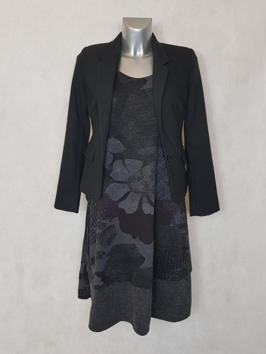 837f3dec3f44 Robe évasée femme ronde maille gris floral - Caprices de madeleine