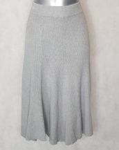 Jupe pull midi évasée en maille côtelée grise pour femme