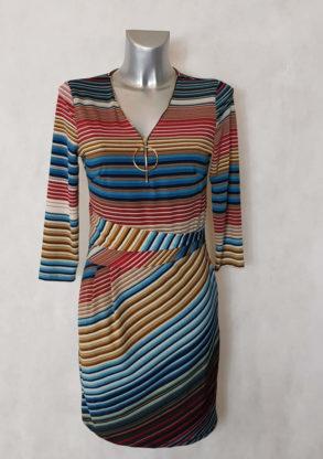 Robe femme courte drapée à rayures col V zip manches ¾