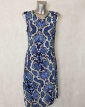 Robe femme courte drapée motif animal bleue col rond et sans manches