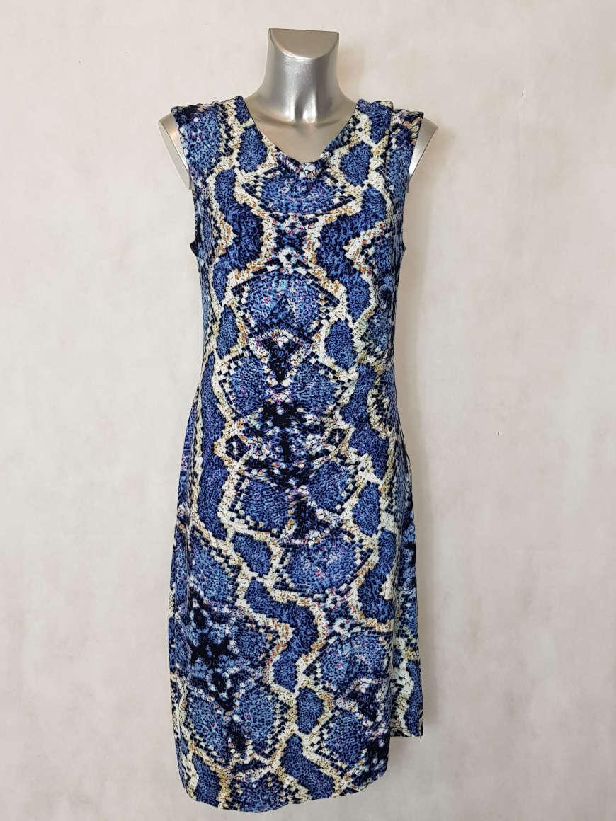 robe-femme-courte-drapee-motif-animal-bleue