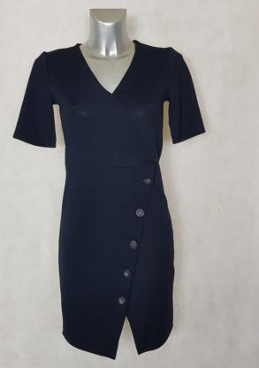 Robe femme droite bleue col V manches courtes