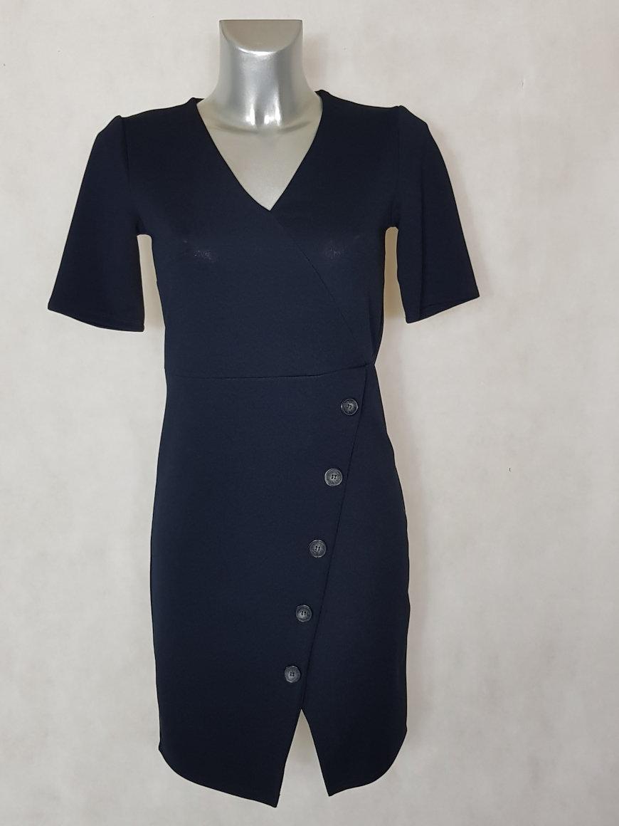 11e2ec64cbbfc Robe femme droite bleue col V manches courtes - Caprices de madeleine