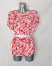 Tunique femme fluide motif minimaliste corail col rond et manches courtes