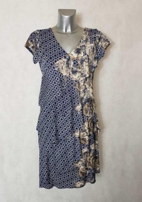 Robe femme à volants motif floral et minimaliste col V manches courtes