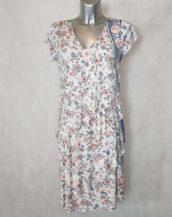 Robe femme à volants motif floral liberty col V manches courtes