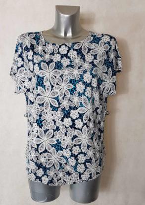 Tunique femme fluide motif minimaliste azur col rond et manches courtes