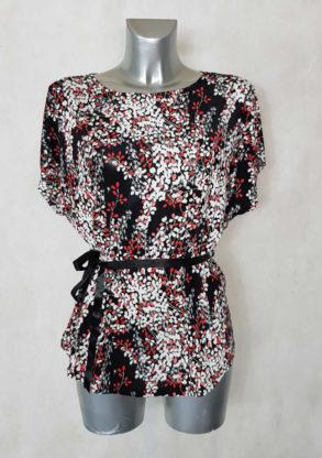 Tunique femme fluide motif minimaliste rouge col rond et manches courtes