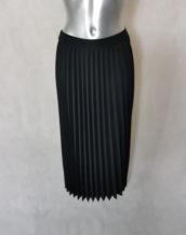 Jupe femme noir midi plissée et taille élastiquée, tissus stretch