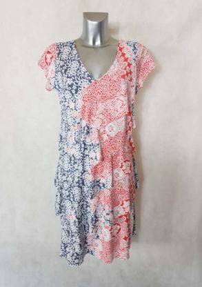 Robe femme à volants motif floral minimaliste col V manches courtes.