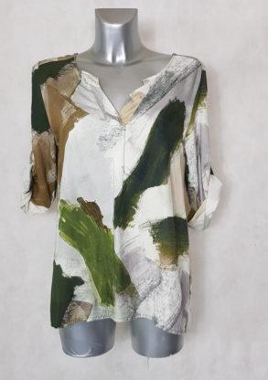 Tunique femme motif art avec col rond et fente V manches longues adaptables