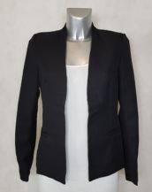 Veste blazer femme noir cintrée tissu crêpe col V