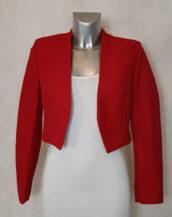 Veste boléro femme rouge tissu crêpe col V manches longues