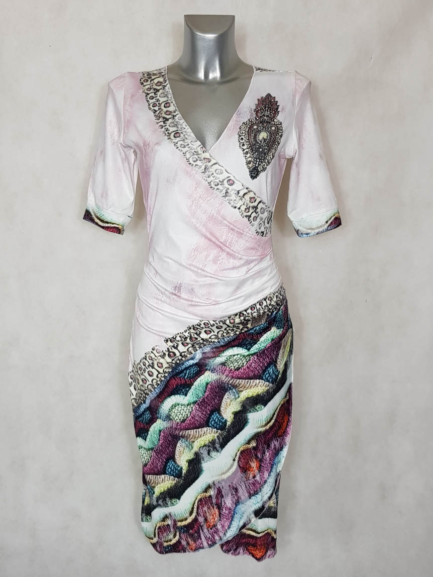Robe femme cache-cœur drapée à motif et strass2