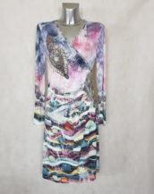 Robe femme drapée cache-cœur à motif et strass et manche longues