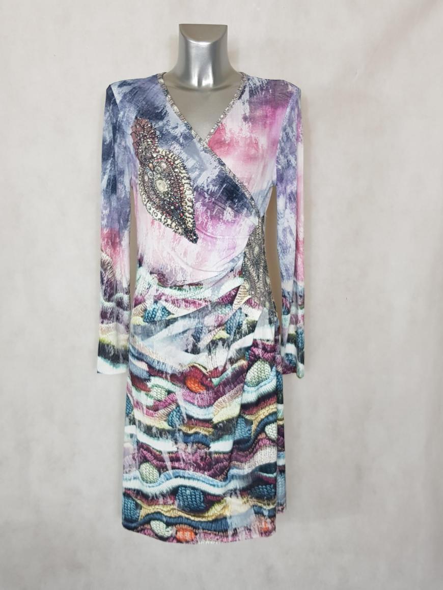 robe-femme-drapee-cache-coeur-a-motif-et-strass