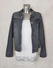 veste en jeans gris pour femme coupe droite et légèrement délavée