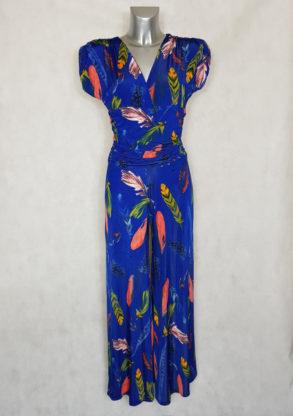 Combi-pantalon femme large bleu roi motif plume manches courtes