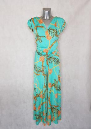 Combi-pantalon femme large vert motif chaîne manches courtes