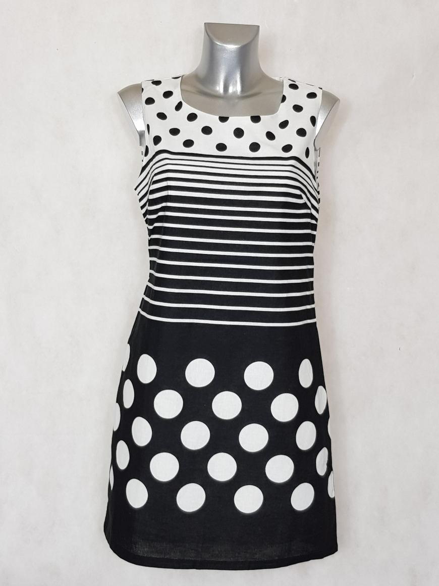 robe-femme-courte-droite-a-motif-pois-et-rayures1