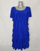 Robe femme fluide bleu roi à volants superposés manches courtes
