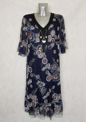 Robe femme ronde dentelle marine motif graphic manches courtes