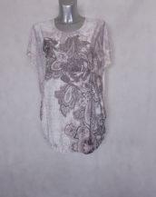 Tunique femme ronde beige fleurie-strass col rond et manches courtes