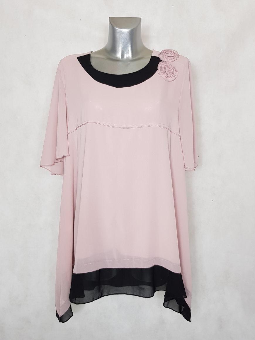 tunique-femme-ronde-evasee-en-voile-rose-noir2