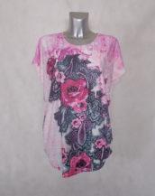 Tunique femme ronde rose fleurie-strass col rond et manches courtes