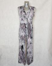 Combi-pantalon large femme ceinture élastique feuille tropicale et col cache-cœur.