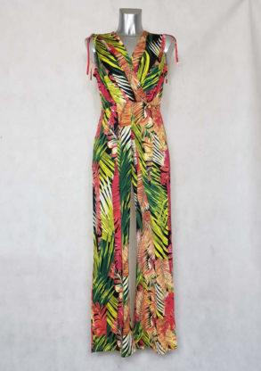 Combinaison pantalon large femme cache-cœur motif feuille tropicale sans manches.